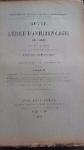 Rivista SCUOLA Antropologia 13 Eme Anni 1903 F.Alcan N° Ix ABE