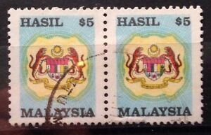 Malaysia Used Revenue Stamps - 2 pcs $5 Stamp (Old Design Small Size)