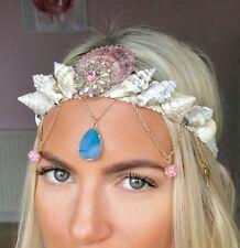 Pink Blue Jewel Wing Charm Mermaid Sea Shell Crown Hair Band Choochie Choo Beach