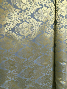 BLUE-GOLD-Damask-Jacquard-Brocade-Flower-Floral-Fabric-110-in-Sold-BTY