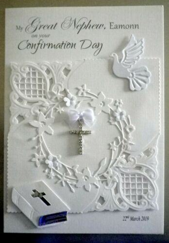 Christening Card with cross Sympathy dove /& bible Personalised Confirmation