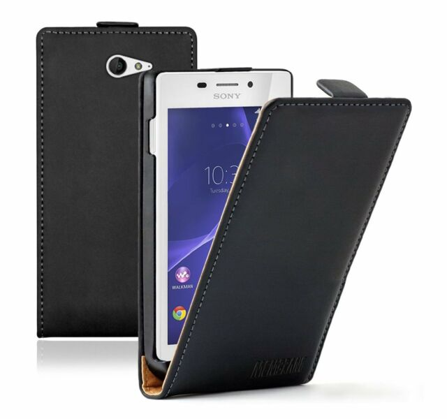 Ultra Slim BLACK Leather Flip Case Cover Pouch For Sony Xperia M2 Aqua +2 FILMS
