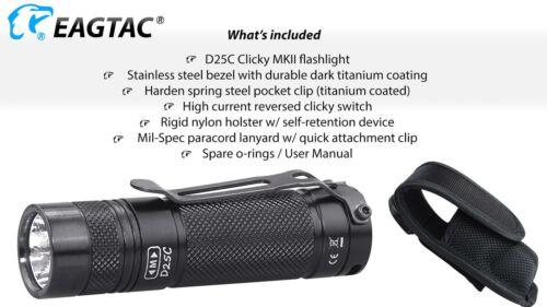 Eagletac D25C MKII Nichia 219C CRI92 LED Flashlight 510 Lumen 120 meter thro