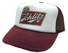 Vintage Schlitz Beer Trucker Hat Mesh Hat Snap Back Hat maroon