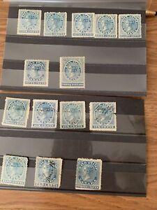 CANADA Lot- 14 FIRST BILL Issue Revenues Van Dam #FB3-FB17, Mint & Used- Nice!