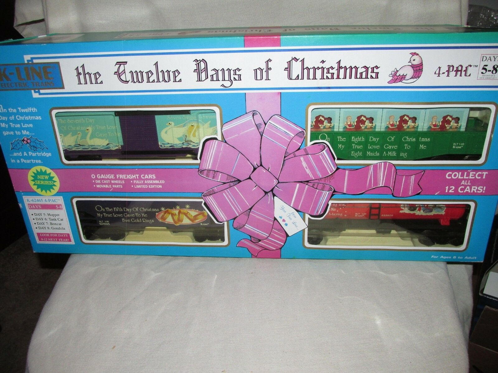 K-Line O/O27 Gauge 1996 12 Days Of Christmas 4 Car Set. 5th,6th,7th & 8th Days