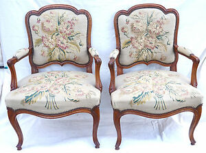 French-Louis-XV-Pair-Armchairs-Aubusson-Tapestry-Carved-Cherry-Wood