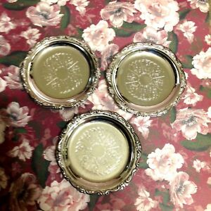 Vintage-Silver-Plated-Coasters-Set-Of-3