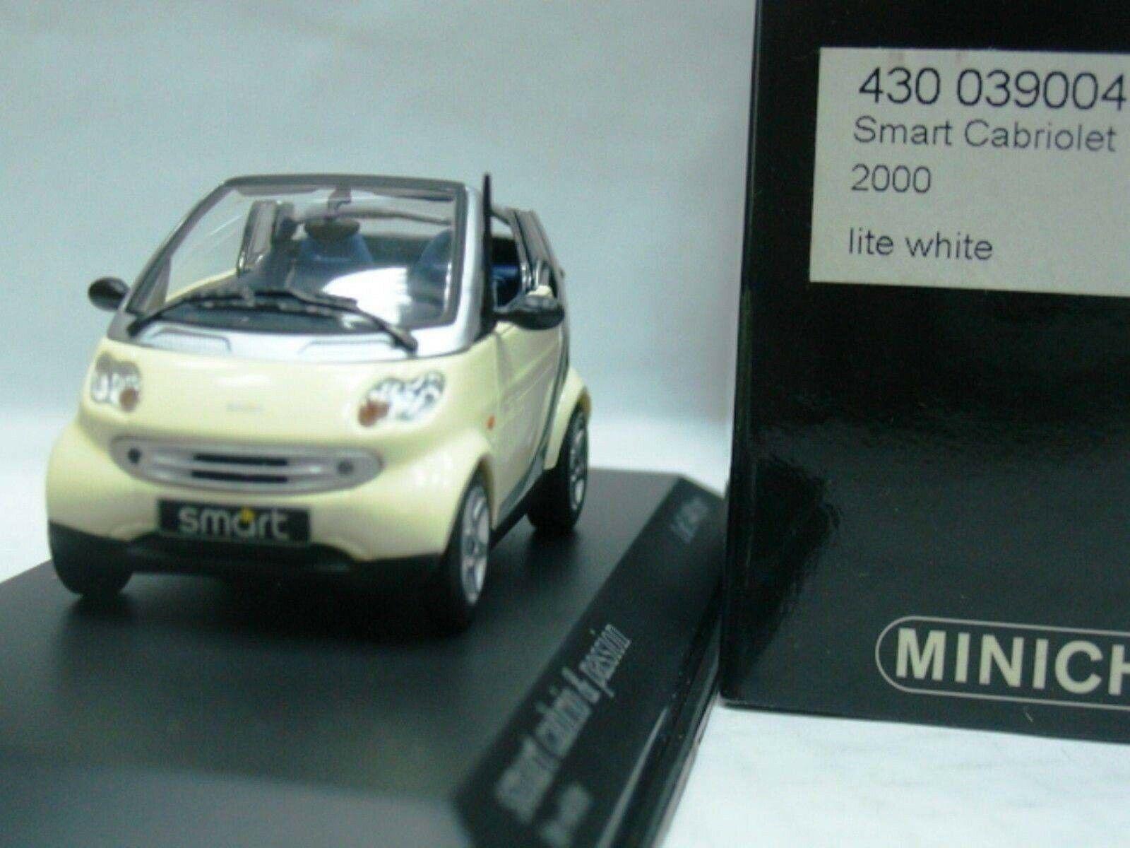 Wow extrêmement rare Smart Passion CABRIOLET 2000 Lite Blanc 1 43 Minichamps-MB