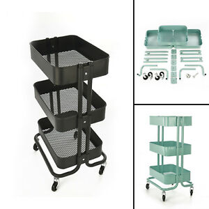 Image Is Loading Kitchen Trolley Cart Slim Rolling Three Tiers Storage