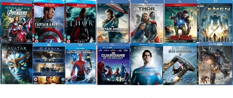 3D Bluray Sets & Movies for Sale, All Brand New originals either Region free or Region B.