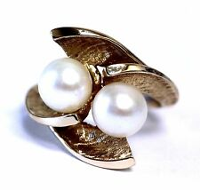 14k yellow gold womens white pearl fashion ring 6.1g vintage ladies estate