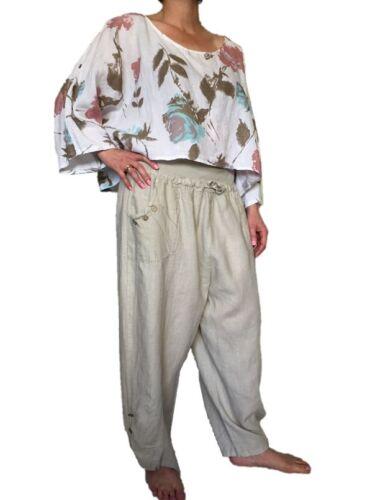 2xl Wide Fancy Lino Pantaloni Xl Beige Capri estivi Holiday Harem Pants L BxIYrwPXYq