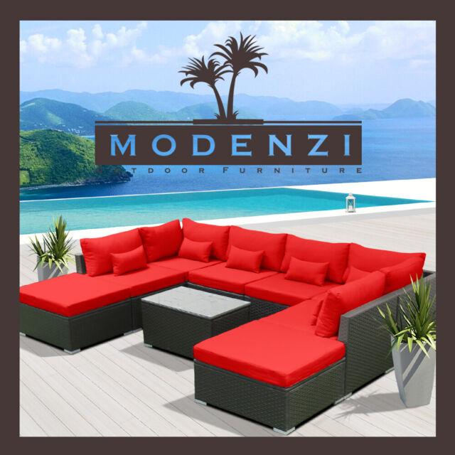 Stupendous 9Pc Outdoor Patio Furniture Sectional Rattan Wicker Sofa Chair Couch Set Red Creativecarmelina Interior Chair Design Creativecarmelinacom