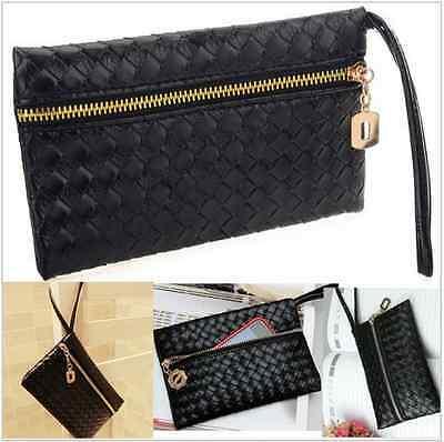 Fashion Women Black Evening Purse Bag PU Leather Embossing Clutch Wallet Handbag