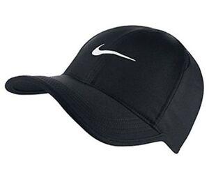 d7789120abd NEW NIKE Dri-Fit Feather Light Hat Cap BLACK WHITE 679421-010 ...