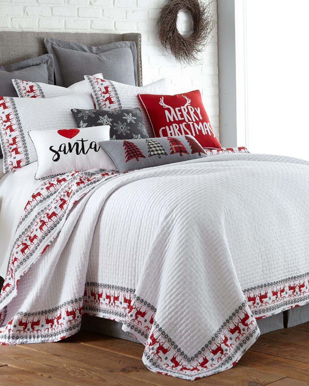 NEW Christmas Rudolph Reindeer White Red FULL QUEEN Quilt & 2 Standard Shams Set
