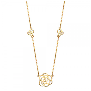 14K Solid Yellow Gold Flower Station Pendant Rolo Chain Necklace Set -Love Charm