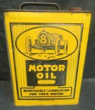 Rare Antique Royal Oak MI. Race Car Graphic 1 Gallon Motor Oil Can High Grade