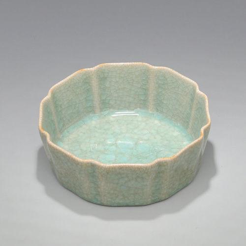 China antique Porcelain Song Ru kiln Celadon Glaze octagon Brush Washers