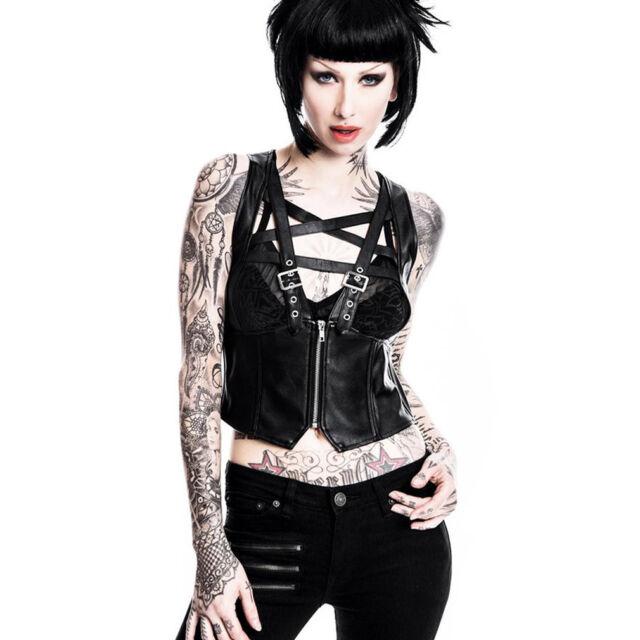 Killstar Gothic Goth Okkult Oberteil Träger-Top Lydia Schwarz Pentagramm