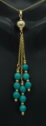 new 14K Solid Yellow Gold 3 strand dangling Turquoise  Pendant