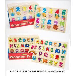 Enfants-Apprentissage-Bois-Lettres-Abc-Alphabet-ou-123-Numero-Puzzle-Jouets