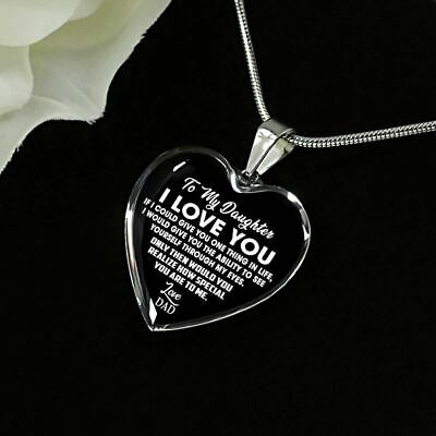 To My Daughter Necklace Heart  From Daddy Pendant Father And Daughter Heart