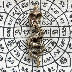 Brass King Cobra Snake Hunting Money Powerful Amulet Statue Talismans Wealth FS
