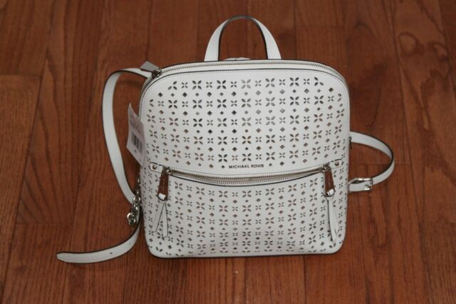 f1ed44fcff12a8 NWT Michael Kors Rhea Slim Floral Perforate Medium Backpack Bag Optic White
