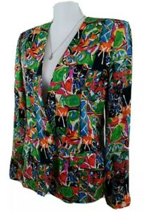 Ann-May-Women-039-s-Size-8-Multi-Color-100-Silk-Blazer-1-Button-Jacket-Fully-Lined