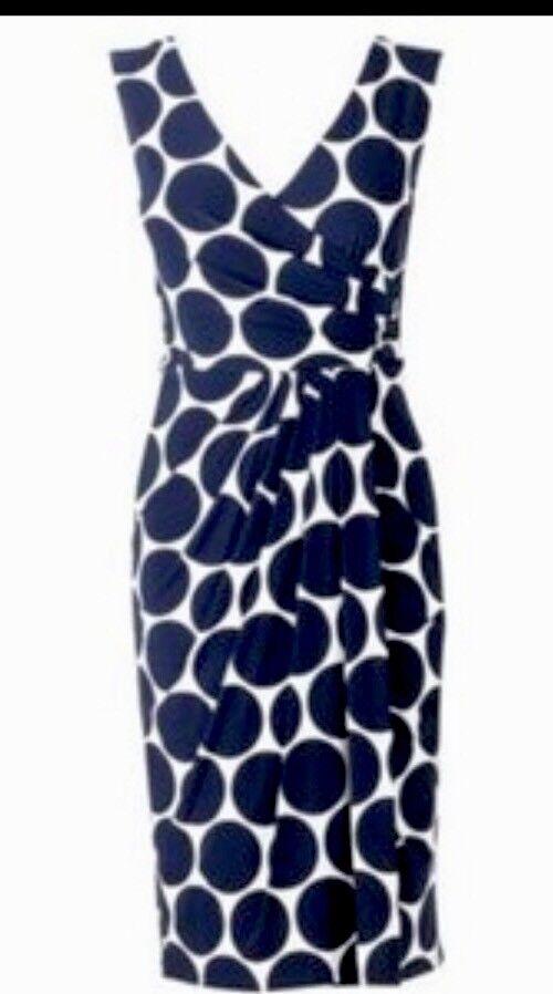 BNWT PHASE EIGHT  8 Jackie Spot WIGGLE DRESS - Größe 10  Navy   Cream