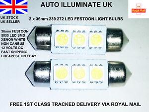 2x-36mm-Car-Led-Smd-239-272-C5W-White-Number-Plate-Festoon-Light-Bulbs-Lamps-12V