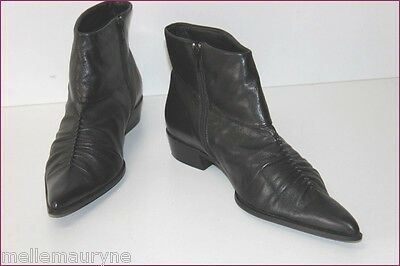 Bata Boots Pointues Cuir Plissé Noir T 40 Ttbe