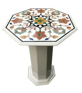 """24"""" White Marble Octagon Coffee Table Top With 18"""" Stand Floral Inlay Decor W072"""