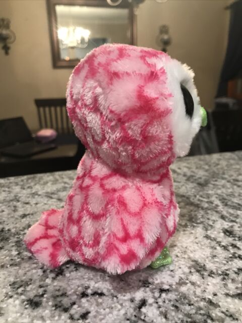 Ty Bubbly The Pink Owl Beanie Boos in Cello MINT Tag-needs a Loving Owner for sale online