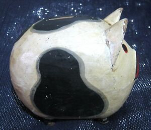 Wooden Pig Piggy bank Gloucester Old Spot approx 5½ and 5 ins