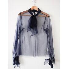 Rodarte for Target Sz M Medium Sheer Tulle Bow Neck Top Blouse EUC ~Navy Blue