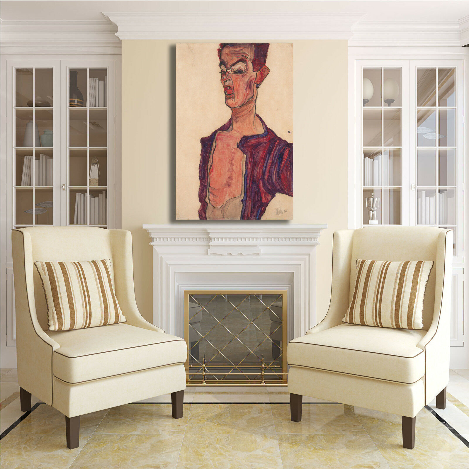 Schiele autoritratto smorfie quadro stampa dipinto tela dipinto stampa telaio arRouge o casa 97d8f2