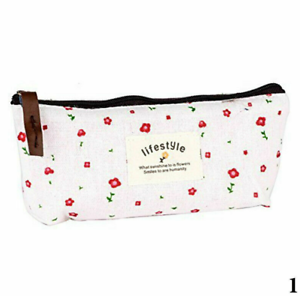 Floral Canvas Pencil Case Cosmetic Student Stationery Makeup Storage Bag