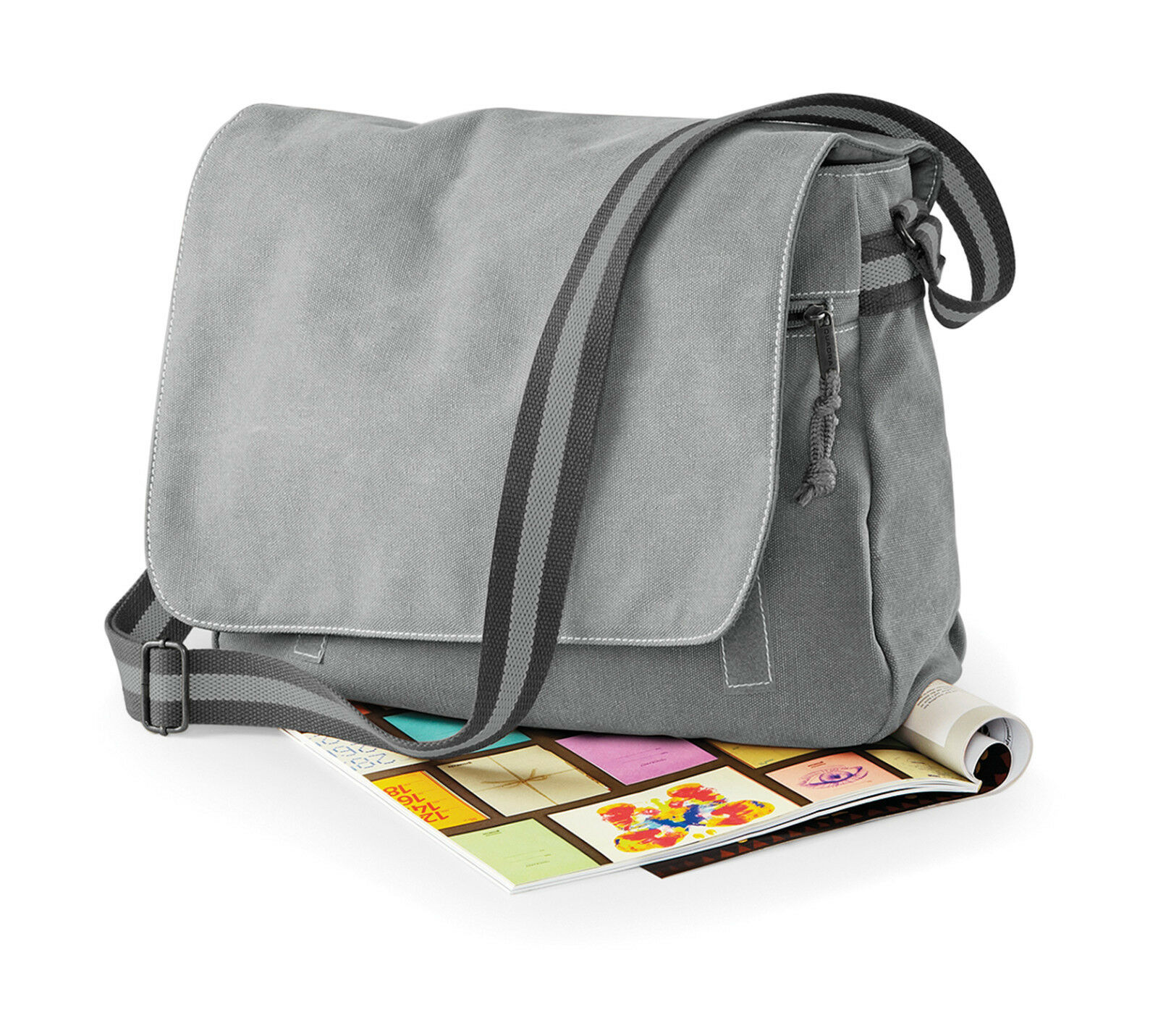 Vintage Canvas Tasche von Quadra Schultergurt Baumwolle Schultasche Büro QD610