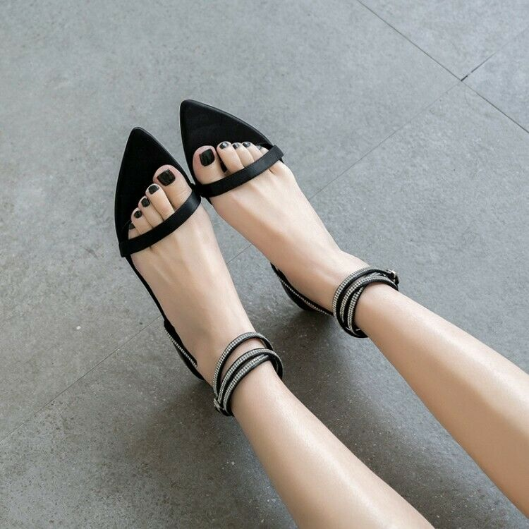 Womens Ladies Fashion Satin Diamante Ankle Wrap Buckle Beach Sandals Shoes SKGB
