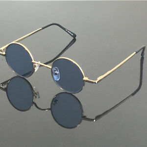130fb3a530a49 Image is loading Vintage-small-Round-37mm-Gold-Reading-Sunglasses-Retro-