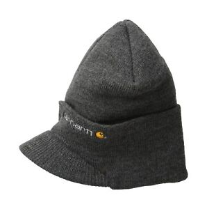 0fe8977a383 Carhartt Men s Knit Hat With Visor Coal Heather One Size 35481371196 ...