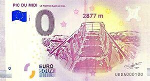 BILLET-0-EURO-PIC-DU-MIDI-LE-PONTON-DANS-LE-CIEL-FRANCE-NUMERO-100