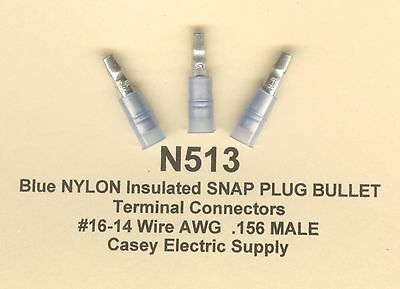 NEW 100 pack 3M 94844 Blue Nylon Male Bullet Snap Plug 16-14 AWG Size .156
