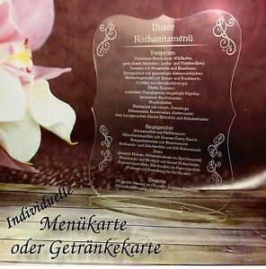 Menukarte Getrankekarte Hochzeit Taufe Tischdeko Acrylglas