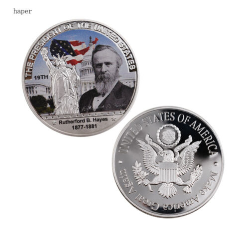 Birthday Gifts US 19th President Rutherford B Hayes Commemorative Silver Coin