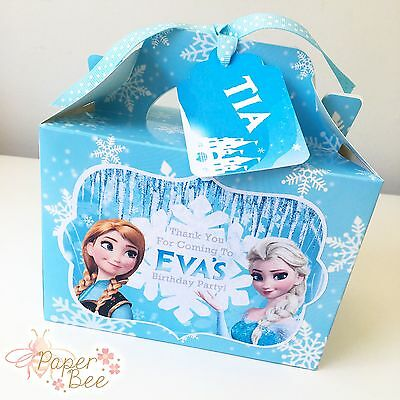 Birthday Party Kids//Childrens Frozen Themed PERSONALISED GIFT BAG BOX FAVOUR