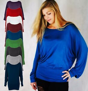 LADIES JERSEY STYLE HIGH NECK CHOKER TOP BATWING SLEEVE HILO LONG BACK 8-20
